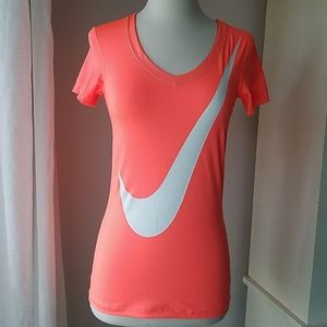 Nike Pro Dri Fit v-neck fitted fitness shirt